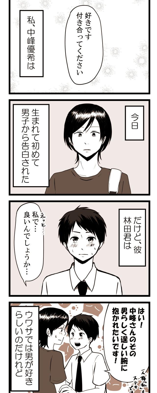 生まれてはじめて男子に告白されたのだが、その男子は男好きで、中峰さんを男だと勘違いしているようだ。
